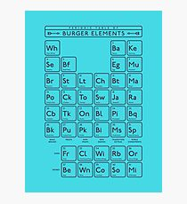 Periodic Table of Burger Elements - Cyan Photographic Print