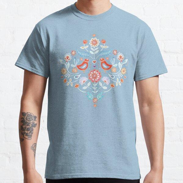 Happy Folk Summer Floral on Light Blue Classic T-Shirt