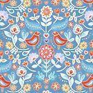 Happy Folk Summer Floral on Light Blue by micklyn