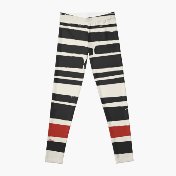 Abstract Black Red Stripe Leggings