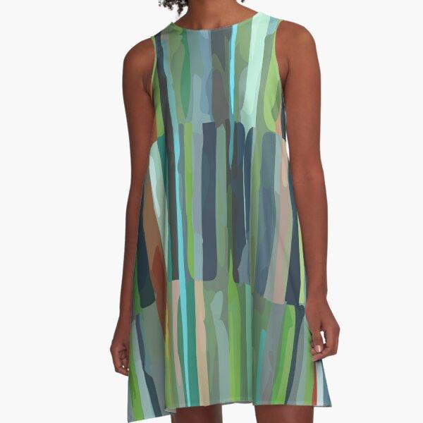 Green Etchnic Scandinavian Vertical Line A-Line Dress