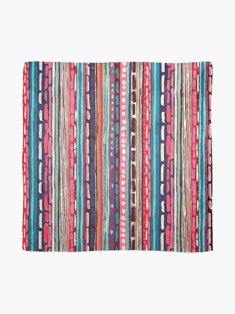 Alternate view of Red Etchnic Scandinavian Vertical Line Scarf