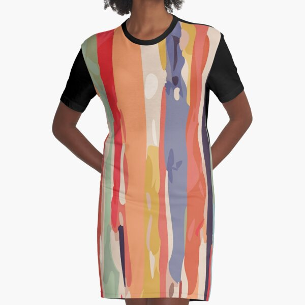 Abstract Vertical brush in MultiColor Graphic T-Shirt Dress