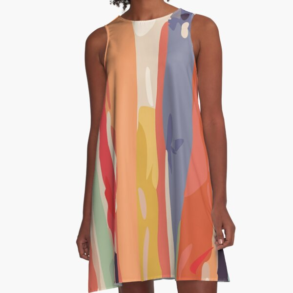 Abstract Vertical brush in MultiColor A-Line Dress