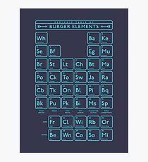 Periodic Table of Burger Elements - Black Cyan Photographic Print