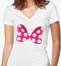 Polka Dots Bow Women's Fitted V-Neck T-Shirt
