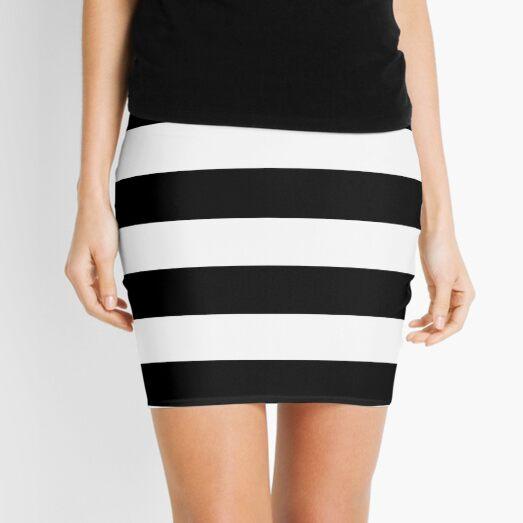 Black and White Big Stripe Mini Skirt