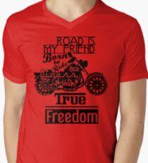 True Freedom - Road is my friend Motorbike - black on white T-Shirt