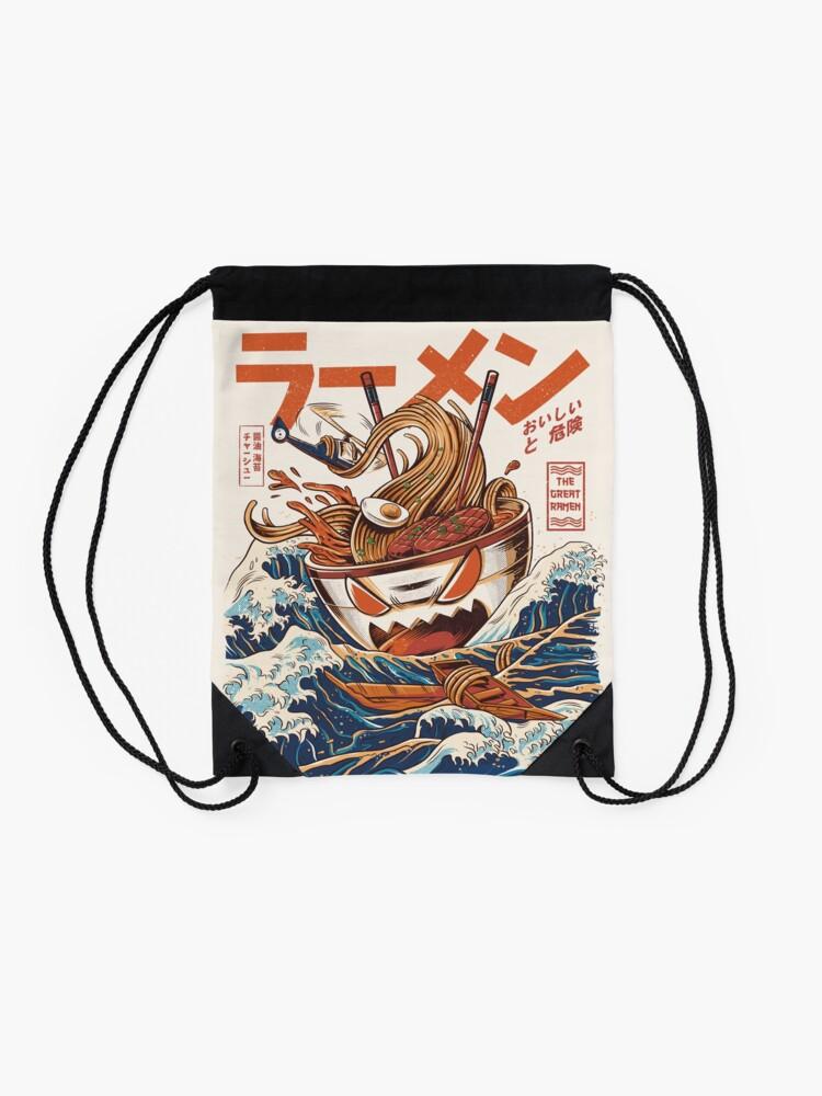 Alternate view of The Great Ramen off Kanagawa Drawstring Bag