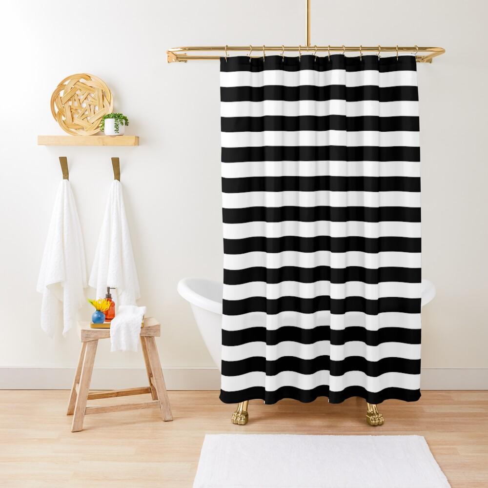 Black and White Big Stripe Shower Curtain