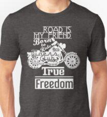 True Freedom, Road is my friend Motorbike - white on black T-Shirt