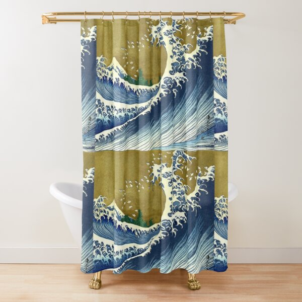HOKUSAI. A Coloured Version Of, The Big Wave, Japan, Japanese. Shower Curtain