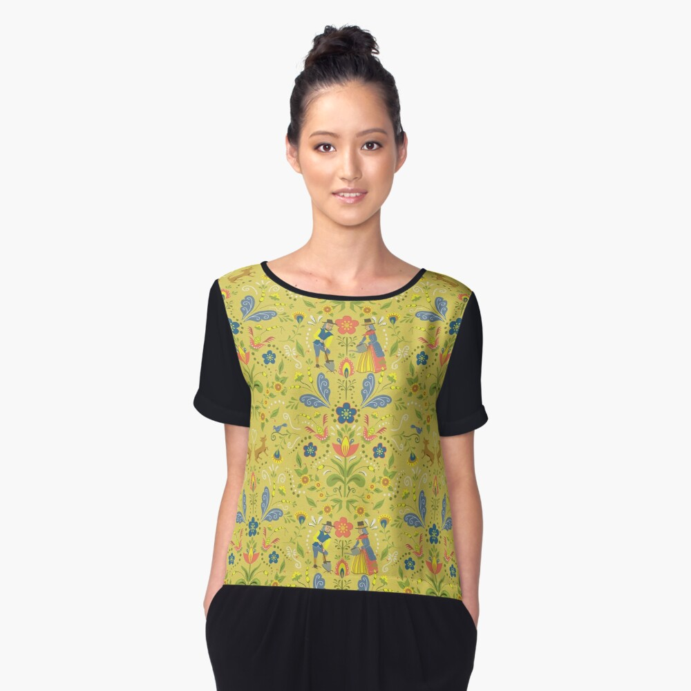 Swedish Garden in Folk Art Style with Flowers and Dogs - Mustard Background Women's Chiffon Top Front