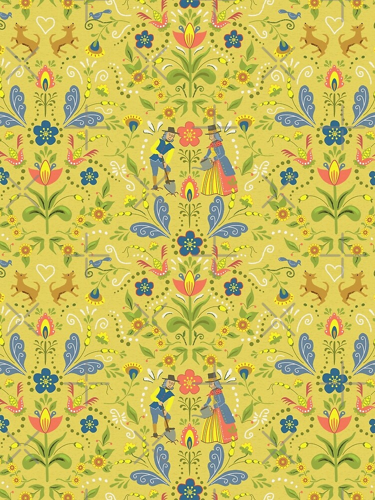 Swedish Garden in Folk Art Style with Flowers and Dogs - Mustard Background by vinpauld