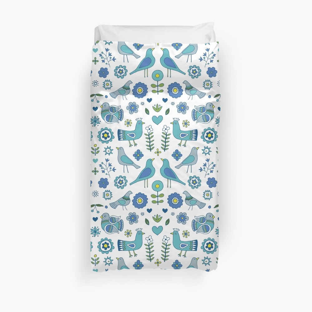 Scandi Folk Birds - blue & white - Scandinavian folk art pattern by Cecca Designs Duvet Cover