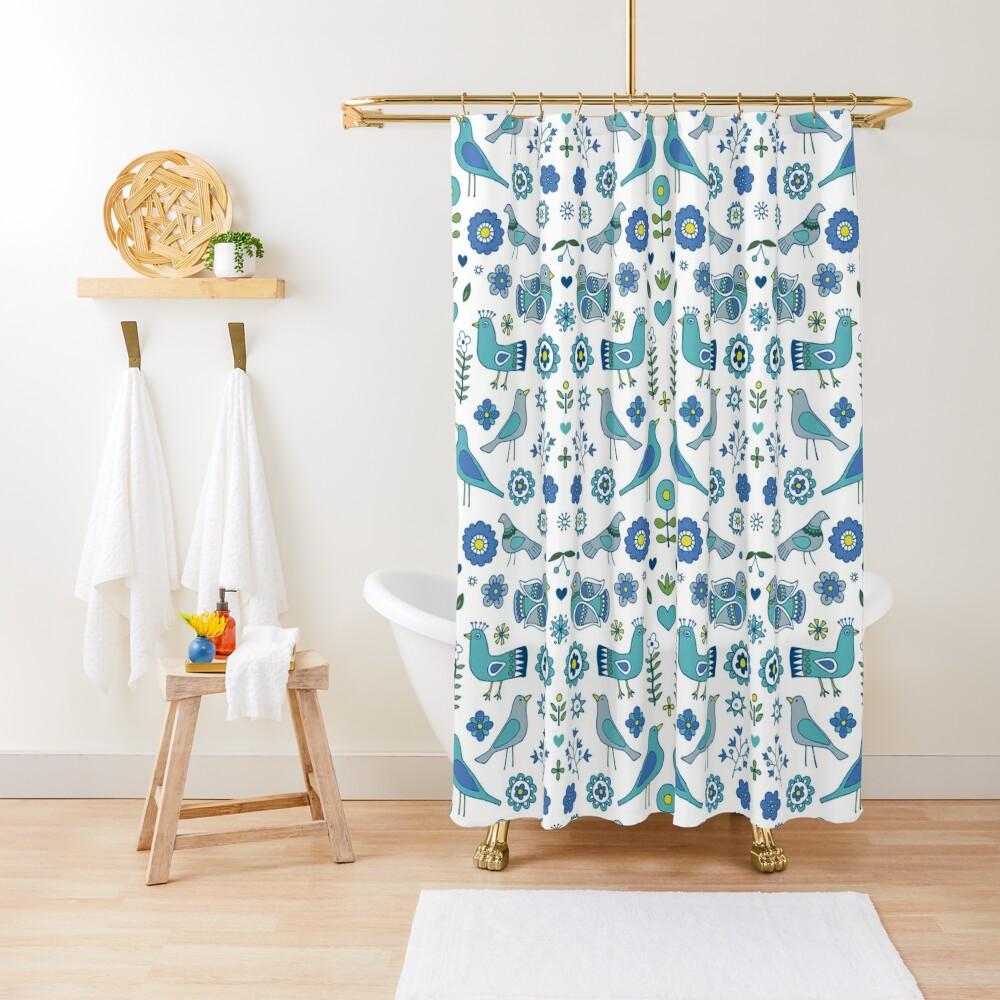 Scandi Folk Birds - blue & white - Scandinavian folk art pattern by Cecca Designs Shower Curtain
