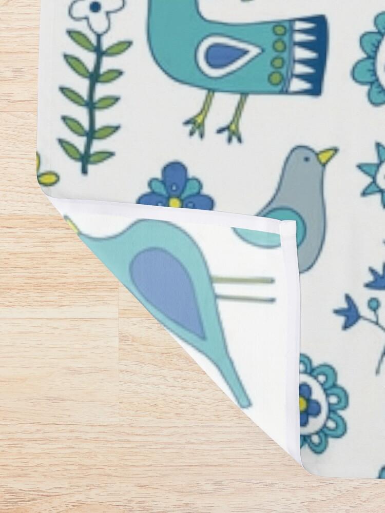 Alternate view of Scandi Folk Birds - blue & white - Scandinavian folk art pattern by Cecca Designs Shower Curtain