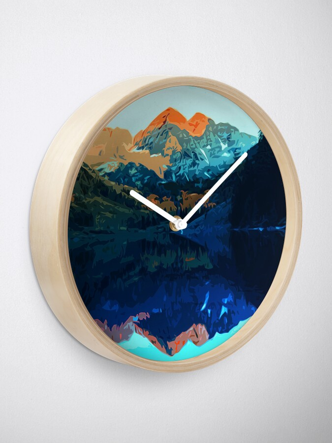 Alternate view of The Wonderful Maroon Bells - Landscapes of USA Clock