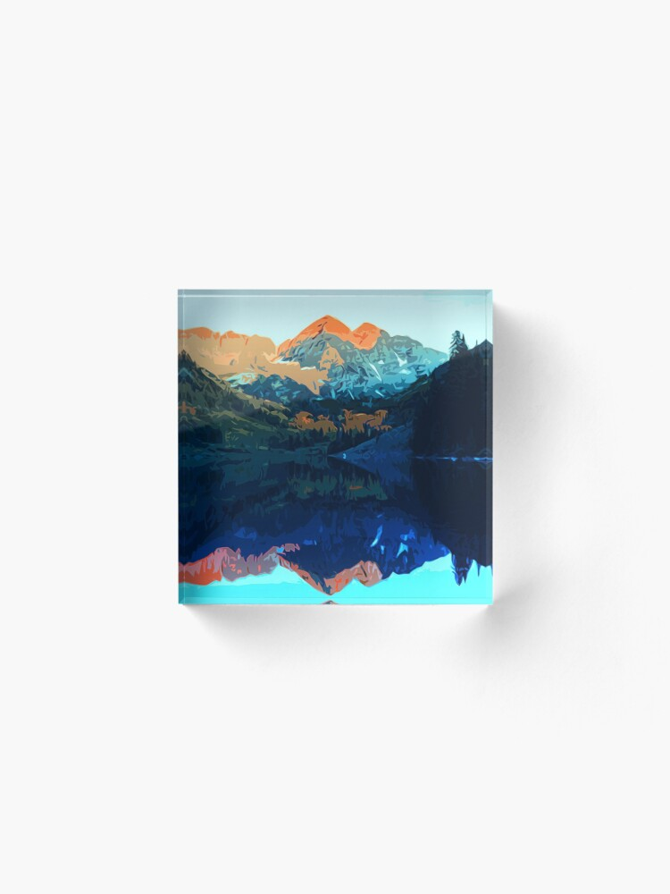 Alternate view of The Wonderful Maroon Bells - Landscapes of USA Acrylic Block