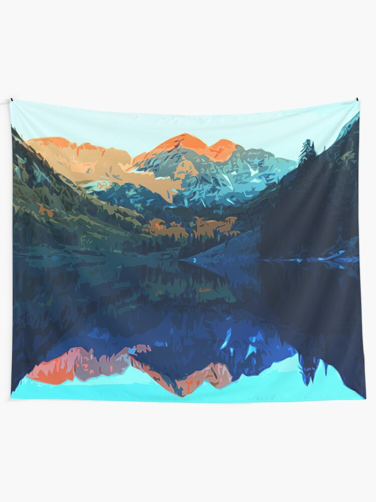 Alternate view of The Wonderful Maroon Bells - Landscapes of USA Wall Tapestry
