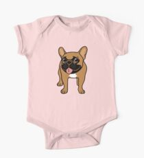 Black Mask Fawn French Bulldog is ready to play  One Piece - Short Sleeve