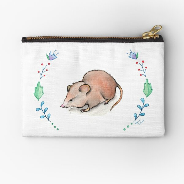 Baby Shrew Floral Frame - Watercolour Zipper Pouch