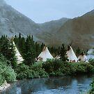 Blackfoot Tipi Camp Up the Cutbank in Montana by DanKeller