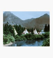 Blackfoot Tipi Camp Up the Cutbank in Montana Photographic Print