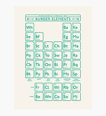 Periodic Table of Burger Elements - Cream Green Photographic Print