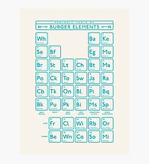 Periodic Table of Burger Elements - Cream Cyan Photographic Print