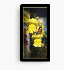 Tiny Butterfly On Yellow Bell Flower Canvas Print