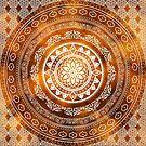 'Golden Destiny' Gold Orange & White Flower Of Life Boho Mandala Design by ImageMonkey