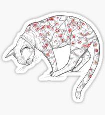 Gato en el tatuaje de Sakura Pegatina