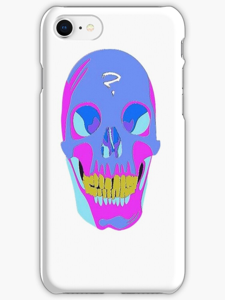 Neon Pixel Psychedelic Halloween Skull  by taiche
