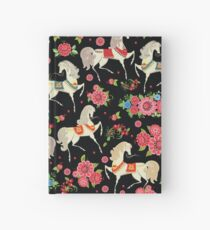 Dancing Horse with Red Rose Flower in Black Background Pattern Hardcover Journal