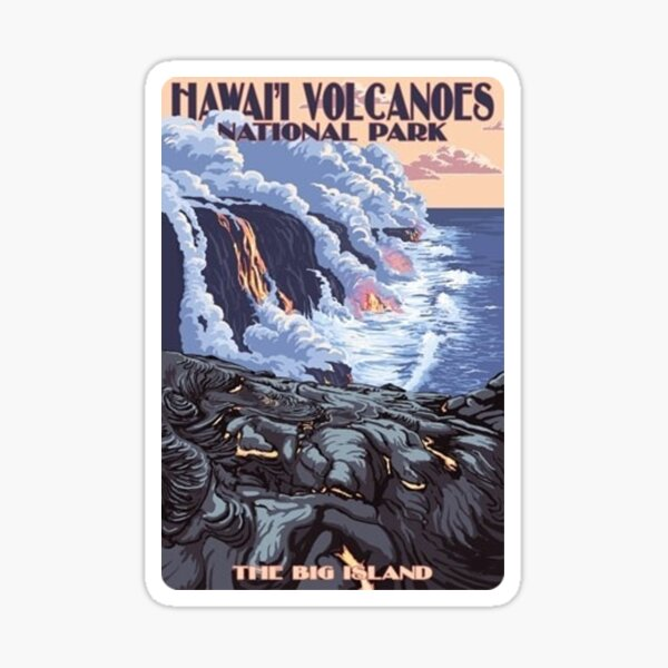 Hawaiʻi Volcanoes National Park The Big Island Travel Decal, Hawaii, USA Sticker
