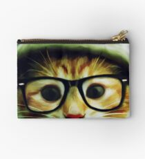 Vintage Cat Wearing Glasses Studio Pouch