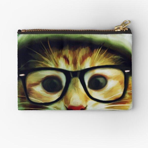 Vintage Cat Wearing Glasses Zipper Pouch