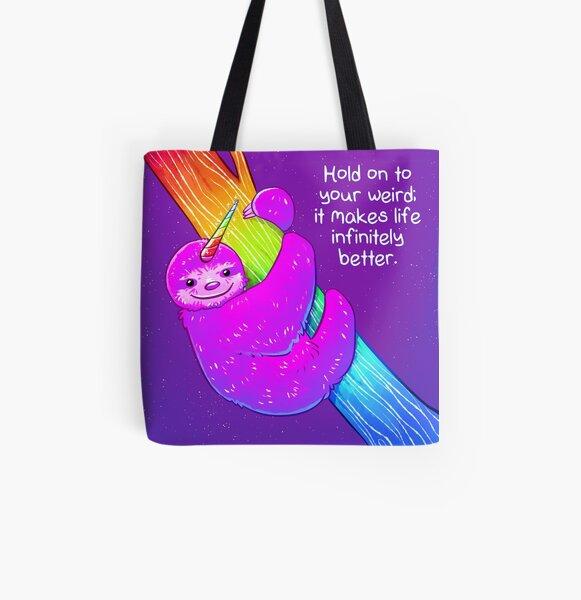 """""""Halt dein Weird"""" Rainbow Slhoothorn fest Allover-Print Tote Bag"""