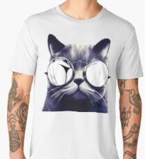 Vintage Cat Wearing Glasses Men's Premium T-Shirt
