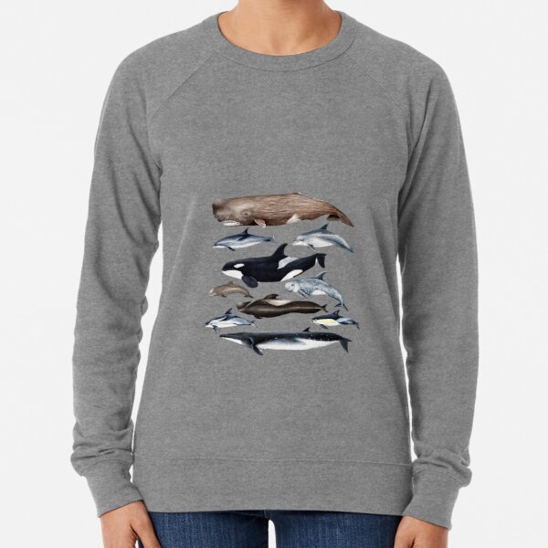 Whales, dolphins, orca and sperm whale Lightweight Sweatshirt