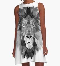 Geometrischer einfarbiger Schwarzweiss-Löwe A-Linien Kleid