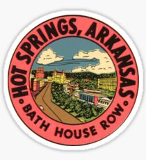 Hot Springs National Park - Bath House Row - Vintage Travel Decal Arkansas, USA Sticker