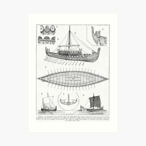 BURNING NORDIC VIKING MEDIEVAL SHIPS AT SEA SUNSET REAL CANVAS ART PRINT