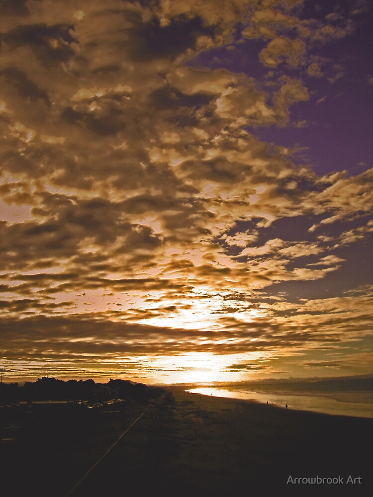 Sunset - Brighton Beach NZ by John Brotheridge