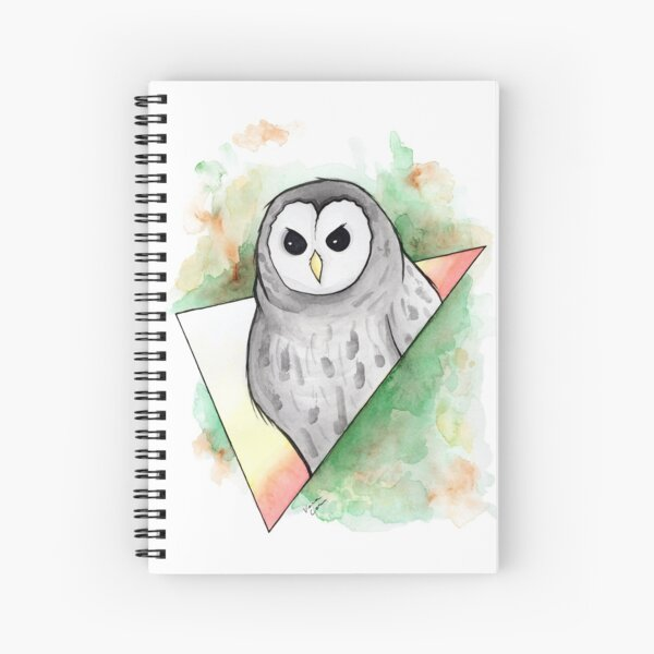 Watercolour Barred Owl Illustration Spiral Notebook