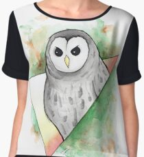 Watercolour Barred Owl Illustration Women's Chiffon Top