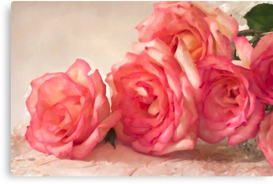 Rosy Elegance - Digital Watercolor  by Sandra Foster
