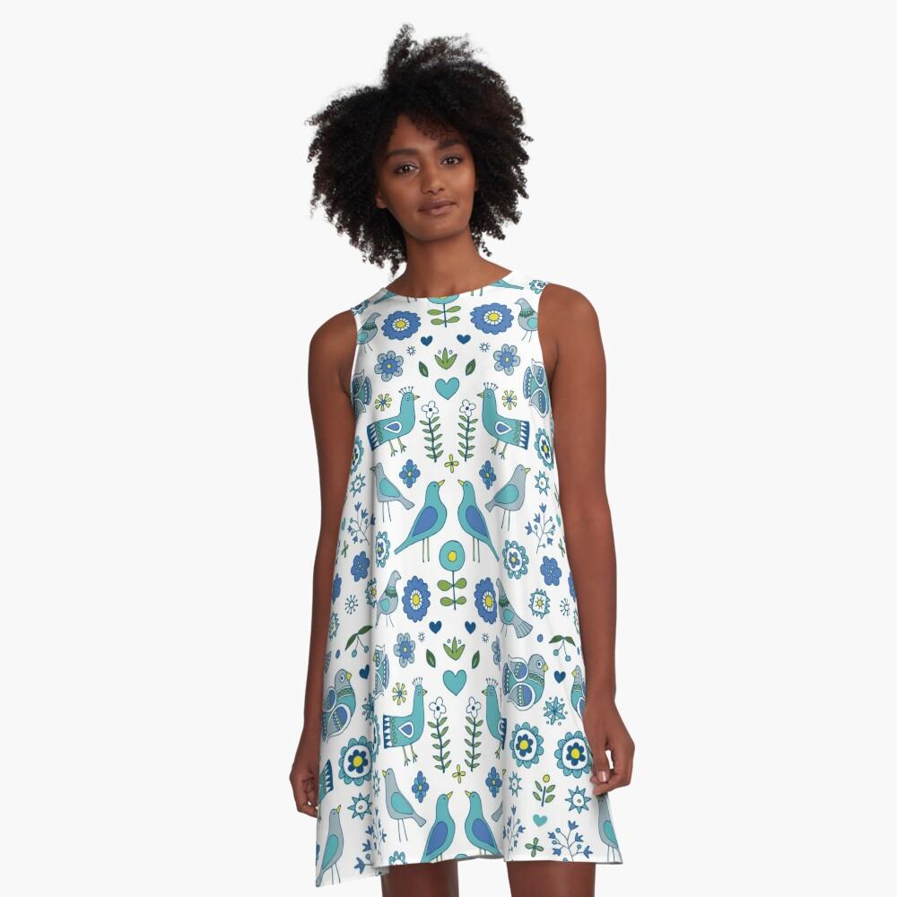Scandi Folk Birds - blue & white - Scandinavian folk art pattern by Cecca Designs A-Line Dress Front