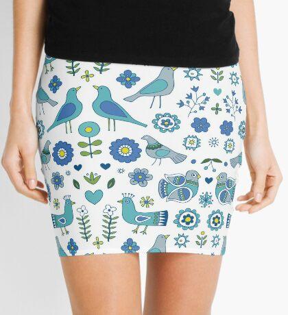 Scandi Folk Birds - blue & white - Scandinavian folk art pattern by Cecca Designs Mini Skirt